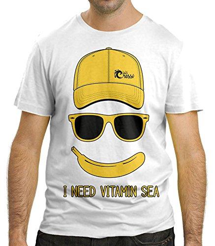 Cressi Beach Men's I NEED VITAMIN SEA T-shirt, White, Small