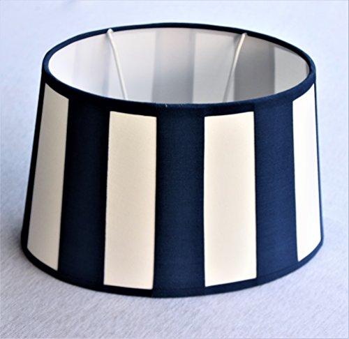 Lampenschirm Chintz *oval*, Balkenstreifen marineblau/beige Du=22 / Do=17 / H=14cm Befestigung unten E27 (optional lieferbar Reduzierring auf E14)