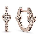 Pandora Jewelry Alluring Hearts Cubic Zirconia Earrings in Pandora Rose