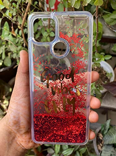 Sunny Fashion Back Cover for Oppo A15 / A15s Good Vibes Only Designer Quicksand Moving Liquid Floating Waterfall Girls Soft TPU Mobile Back Case Cover for (Oppo A15 / A15s, Red)