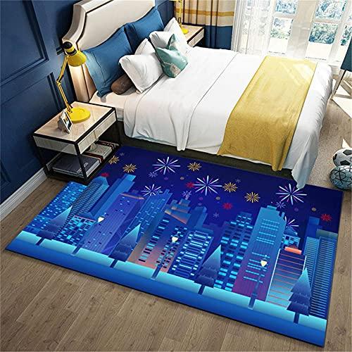 ♚ Azul Urbano Dormitorio Cama Cama Moderna Alfombra Alfombra Duradera Resistente a la Suciedad Lavable fácil de Limpiar Antideslizante Outlet alfombras Alfombra Juvenil Alfombra comedor130X190CM