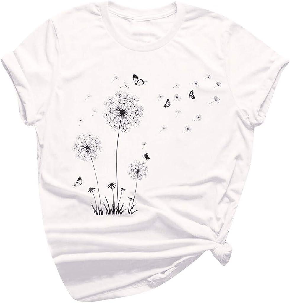 Aukbays Womens Short Sleeve Tops Dandelion Folar Printed Graphic Vintage Tshirt Round Neck Casual Shirts Tees Blouses