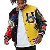 Smoke Rise Fashion Wool Varsity Jacket (Black, Large)