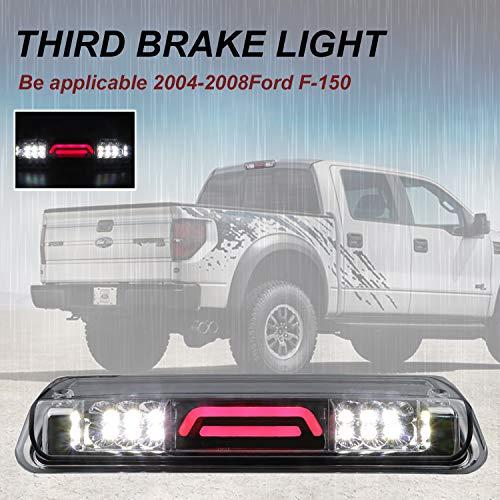 High Mount Led 3D Bar 3rd Third Brake Light Cargo Lamp Fits 2004-2008 Ford F-150, 2007-2010 Ford Explorer Sport Trac, 2006-2008 Lincoln Mark LT (Chrome Housing Clear Lens)