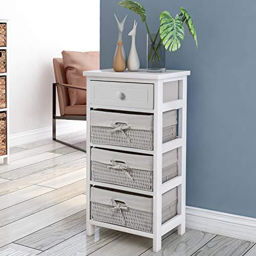 FORTOO 4 lade opbergkast, witte houten kist van lades opslag plank organisator eenheid met mandje, H29.3*W15.7*D11.8in