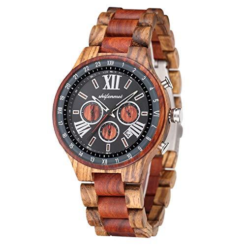 Herren Holzuhr, shifenmei S5587 Hohles Design Analoge Quarz Holzuhren mit Datumsanzeige Chronograph 24 Stunden Holzuhren für Herren mit Holzarmband (Zebra)