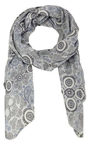 Cashmere Dreams Seiden-Tuch mit Paisley Muster - Hochwertiger Schal für Damen Mädchen - Halstuch - Umschlagstuch - Loop - weicher Schlauchschal für Sommer Herbst und Winter Zwillingsherz - grau