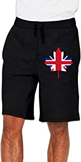 Men's Fashion British Flag Canada Maple Leaf-1 Jogger Sweatpant Sports Gym Shorts