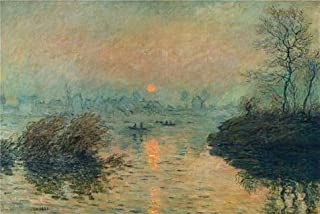 Oil Painting 'Sunset On The Seine, Winter Effect, 1880 By Claude Monet' Printing On Perfect Effect Canvas , 24x36 Inch / 61x91 Cm ,the Best Bedroom Decor And Home Artwork And Gifts Is This Beautiful Art Decorative Prints On Canvas