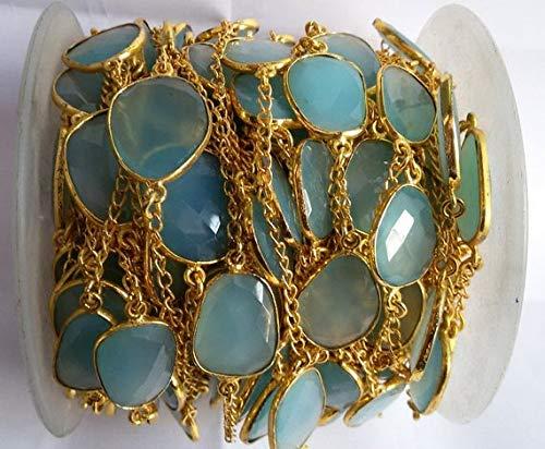 LOVEKUSH 50% Off Gemstone Jewellery 5 Feet Aqua Chalcedony Rosary Bezel Connector Frill Chain - Continuous Connector Chain - Free Shape Connector Chain 7-9mm Code:- RADE-38058