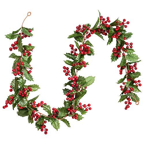 YQing 183cm Beerengirlande Stechpalme Deko, Girlanden Weihnachten mit Tannenzapfen und grünen Blättern, Künstliche Rote Beerengirlande für Urlaub, Kamin, Treppe, Tischdekoration