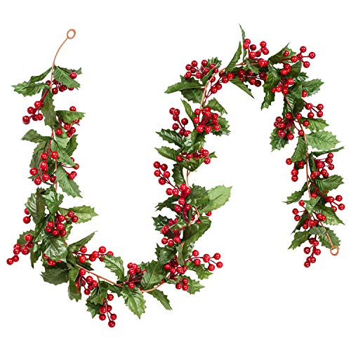 DearHouse 6FT Red Berry Christmas Garland, Flexible Artificial Berry Garland for Indoor Outdoor Home Fireplace Decoration for Winter Christmas Holiday New Year Decor