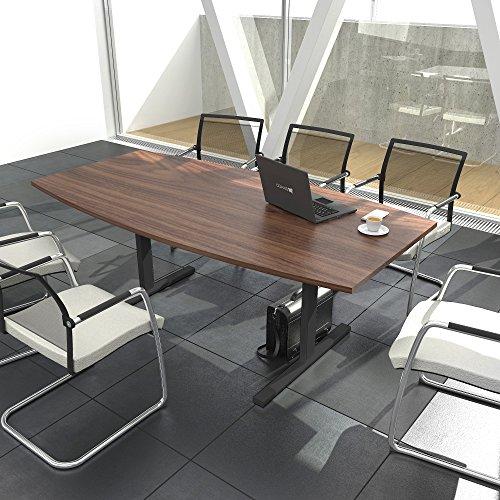 Weber Büroleben GmbH Easy Konferenztisch Bootsform 180x100 cm Nussbaum Besprechungstisch Tisch, Gestellfarbe:Anthrazit