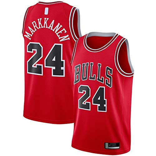 QSWW Camiseta de baloncesto Lauri Markkanen Bordado Chicago Mesh Bulls Traning Jersey #24 Replica Swingman Jersey Rojo - Icono Edition-S