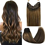 GOO GOO Human Hair Extensions Halo Hair Ombre Dark Brown to Chestnut Brown Straight 100g Natural Real Hair Extensions Hidden Crown Wire Extensions Invisible Hairpiece Transparent Fish Line 20 Inch