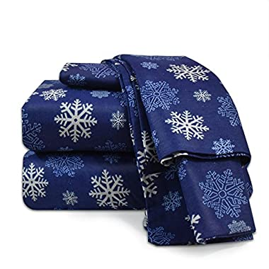 Heavyweight 100% Cotton Flannel Sheet Set, Queen - Blue Snowflake - Luxurious Soft Hypoallergenic and Very Silky Bedding Fabric Enjoy A Comfortable Sleeping Experience, By Nestl Bedding