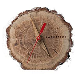 Beautiful Oak Wood Table Clock with Bark. Natural 4 Silent Small Clock. Wooden Country Gift under $30. Minimalist Battery Operated Analogue Clock for Desk / Home Decor. Give the Gift of Time. Unique!