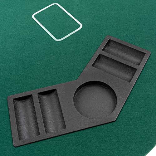 Faltbare Tischauflage Casino Pokertisch Pokerauflage Holzverstärkt klappbar 180 x 90 cm Chiptray Getränkehalter Black Jack Texas Holdem - 3