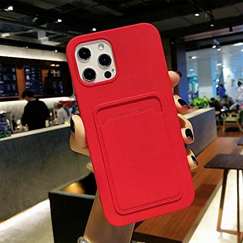 Funda para teléfono para iphone 13 pro max Funda delgada de silicona suave para tarjetero con billetera-Red_for iPhone 13 Pro