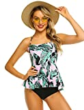ADOME Swimsuit for Women Tummy Control Tankini Top Retro Printed Swimsuit with Boyshorts Bathing Suit Pink Large