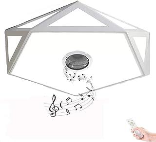 HOREVO 24W Ø40cm Nórdica Moderna LED Lámpara de techo con Mando a Distancia, Altavoz Bluetooth, APP, Plafón sala de estar dormitorio colgante luz hierro restaurante blanco jardín de la de enfermería
