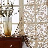 Top Finel Cortinas de Salon Dormitorio Moderno Cocina Visillo Transparente de tratamientos para Ventana con Ojales,140x215cm, Marrón,2 Pieza