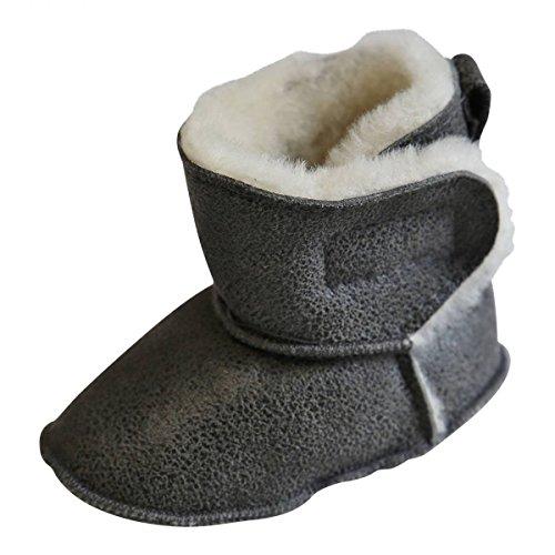 Hollert German Leather Fashion Baby Lammfellschuhe - MIT Klettverschluss Kinder Hausschuhe Boots Merino Schaffell Größe EUR 20/21, Farbe Grau