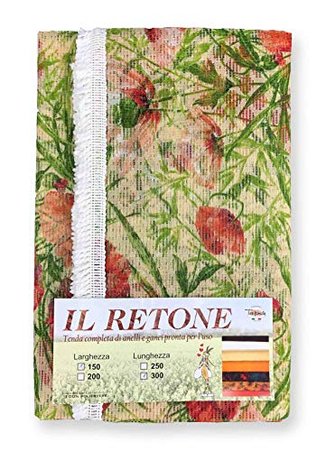 tex family Rideau Filet Moustiquaire de extérieur BG Jardin retone Fleur Beige en Deux mesures FRBG – cm. 150 x 300