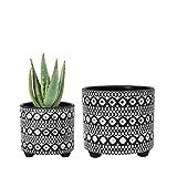 Set of 2 Planter Pots, 4 Inch & 6 Inch, Modern Design Ceramic Plants Pot with Drainage Hole, Black/White, 31-953-B-5