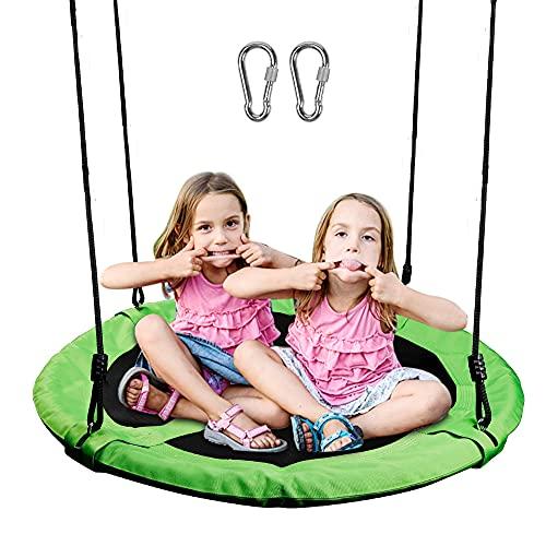 Juegoal Saucer Tree Swing for Kids Adults, 40 Inch Large Rope Swing with Children Swing Platform Bonus Carabiner for Hanging Rope Outdoor, Resistant Waterproof Frame, Green