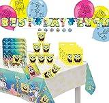 Krause & Sohn Set de fiesta de cumpleaños para niños, muchos piezas, vajilla de cumpleaños, decoración de mesa de cumpleaños (cabeza de esponja)