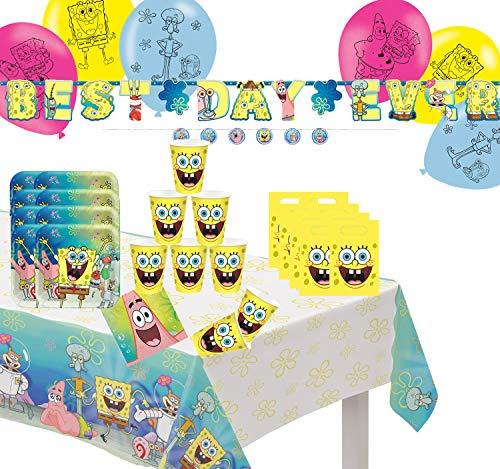 Krause & Sohn Party-Set Kindergeburtstag viele Teile Geschirr Geburtstag Dekoration Geburtstagstisch (Spongebob Schwammkopf)