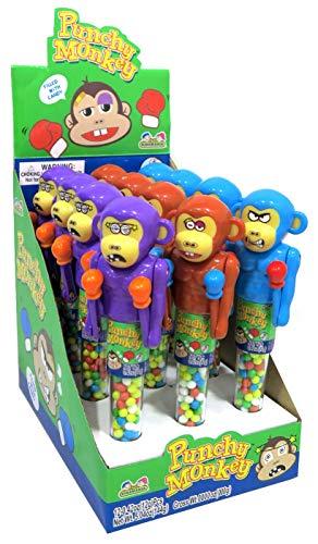 Kidsmania Punchy Monkey, 12 Stück im Display, boxende Affen, Spielzeug mit Süßigkeit, mit Mechanismus lassen sich die Hände bewegen, bunt,