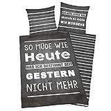Herding Young Collection Bettwäsche-Set, Wendemotiv mit Spruch, Bettbezug 135 x 200 cm,...