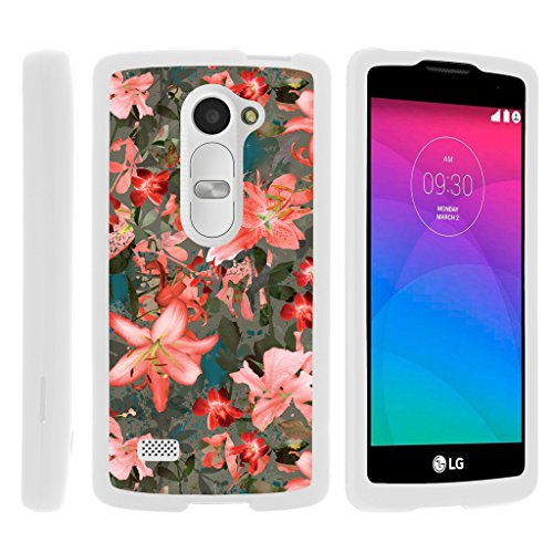 Compatible with LG Leon LTE C40 Case Snap On Snap on Shell Rubberized Grip Custom Cover Shell White with Destiny, Power by TurtleArmor - Pink Floral Burst