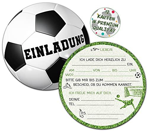 Fußball Einladungskarten Kindergeburtstag   Set aus 12 Geburtstagseinladungen   Kindergeburtstag Einladungskarten für Jungen & Mädchen   Kinder Fussball Mottoparty  