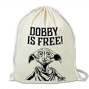 51rE9FFdLyL. SS300  - Logoshirt - Harry Potter - Dobby es libre - Mochila Saco - Bolsa - natural - Diseño original con licencia