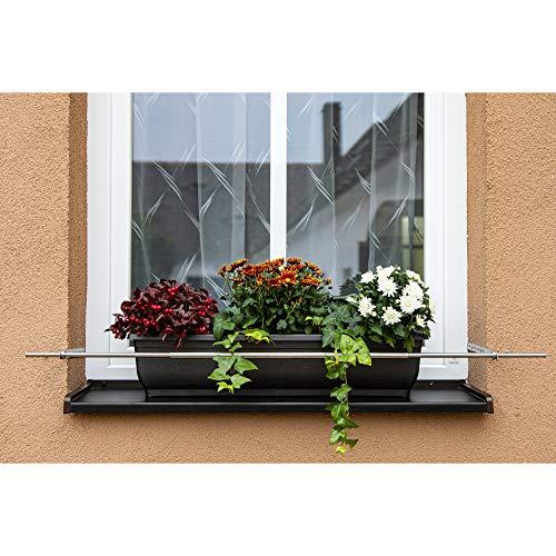 Dastech Blumenkastenhalterung einstellbar 1500 bis 2000 mm für eine Gesamtfensterbreite von 1500-1900 mm/Rostfreies Edelstahl V2A/ Montage auf Dübeln