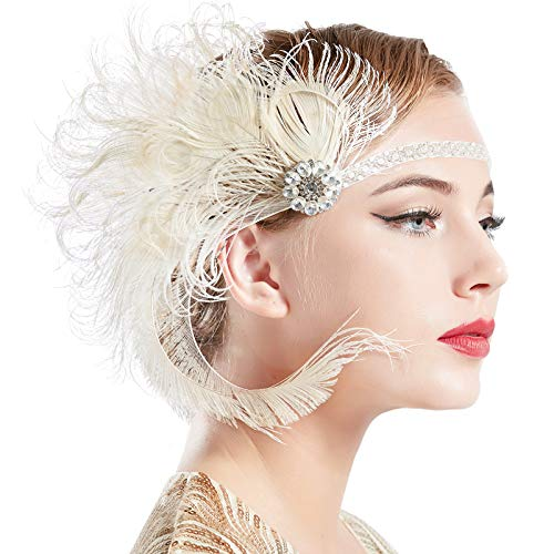 BABEYOND 1920s Flapper Peacock Feather Headband Roaring 20s Beaded Showgirl Headpiece 1920s Great Gatsby Costume Hair Accessories (Beige)