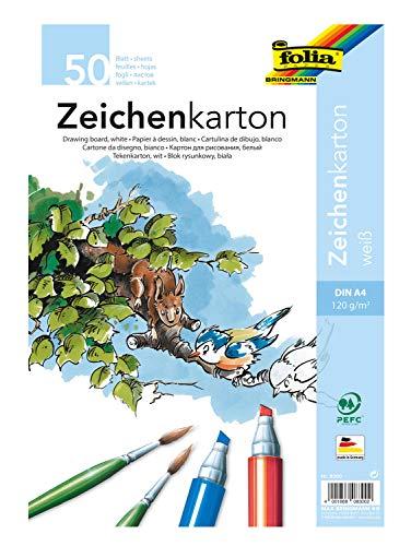 folia 8300 - Zeichenkarton, 120 g/m², DIN A4, 50 Blatt, weiß - Zeichenpapier für vielfältige kreative Ideen