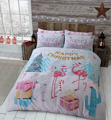 Sleepdown Kerstman beddengoedset met dekbedovertrek en kussenslopen, omkeerbaar (Flamingo Kerstmis, King Size)
