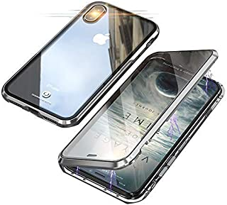 Compatible with iPhone XR Case, Magnetic Adsorption Glass Cover, Double Sided Transparent Toughened Glass, 360 Degree Metal Bumper Protective Phone Case (Silver)
