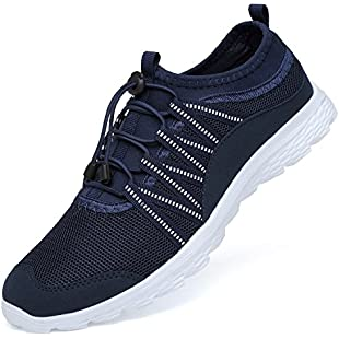 Ritiriko Mens Trainers Road Running Shoes Athletic Sneakers for Walking Gym Sport Navy/White UK 9.5