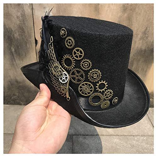 La Mode Taille 57CM Nouveau Haut de Gamme Hommes Femmes Main Steampunk Chapeau Supérieur avec Metal Gear Stage Magic Women's Hat Chapeau De Fête Doux (Color : Black, Size : 57)