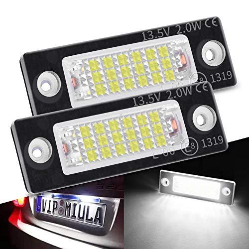 LED Kennzeichenbeleuchtung mit E-Prüfzeichen für Golf Passat Variant Jetta Touran T5 Caddy Superb Octavia, Premium LED Nummernschildbeleuchtung Canbus 18 SMD Lampe (2 Stücke)