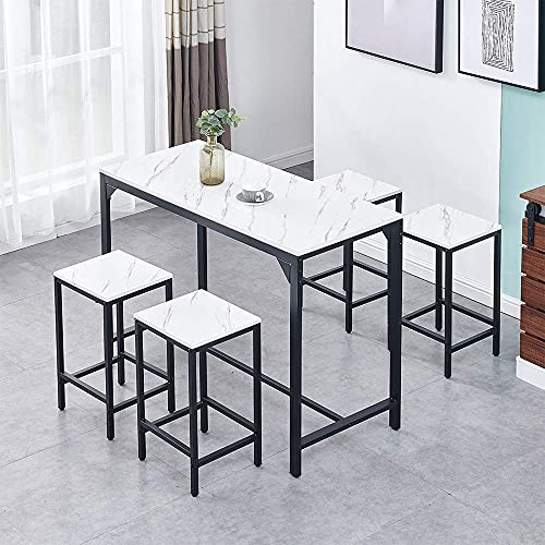 Home Equipment 5 Pieces Bar Dining Table andSet 4 Bar Counter Height Dining TableSet Great for Breakfast Nook Kitchen Room Mini Bar Pub or Patio (Black Marble Vein Tabletop)
