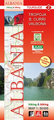 Tropoja, B. Curri, Valbona; Wanderkarte und Radkarte in 1:50.000, Albanien Nr. 2, Huber Kartographie