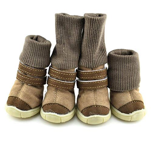 None/Brand Zapatos para mascotas de piel gruesa para perros pequeños zapatos de invierno botas de nieve cálidas para Teddy Caniche Café/Rosa/Púrpura