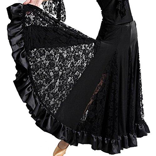Cheerlife Damen Tanzrock Maxirock Standard Ballsaal Tanzen Lange Swing Kleid Modern Walzer Tango Spitze Röcke J Schwarz