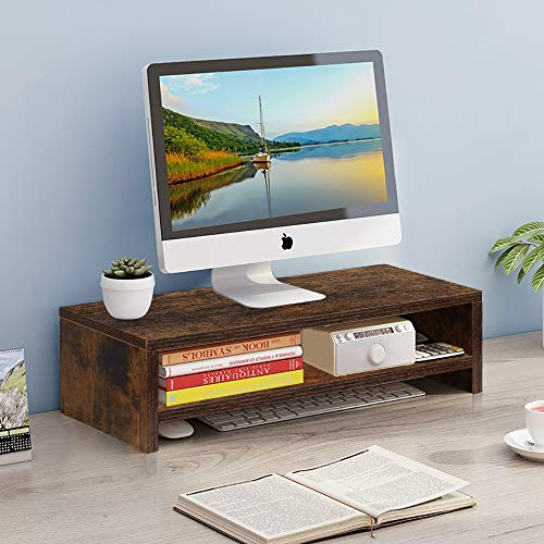 Wood Computer Monitor Stand, Laptop Riser, Desk Storage Organiser with a Middle Tray, Space Saving, Idea for Computer, Notebook, iMac, Rustic Brown